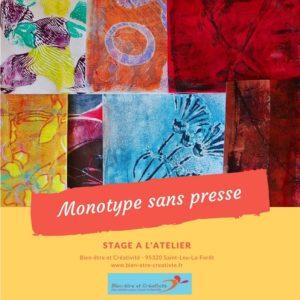 Stage monotype sans presse - Bien-être et Créativité - Saint Leu La Forêt